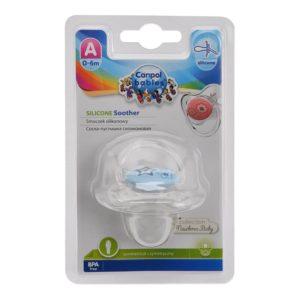 CANPOL Babies Пустышка силиконовая симметричная с колпачком (0-6м), 1 шт